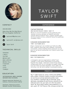 Resumes And Admissions Essays  Mr Alberts English Class Website Taylorswift